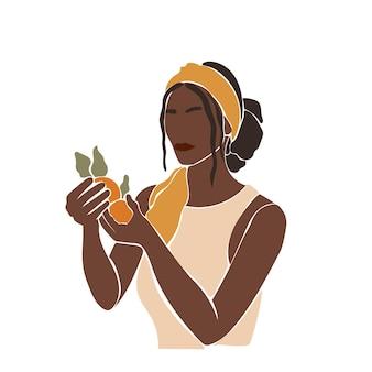 Padrão boho minimalista de retrato de menina africana