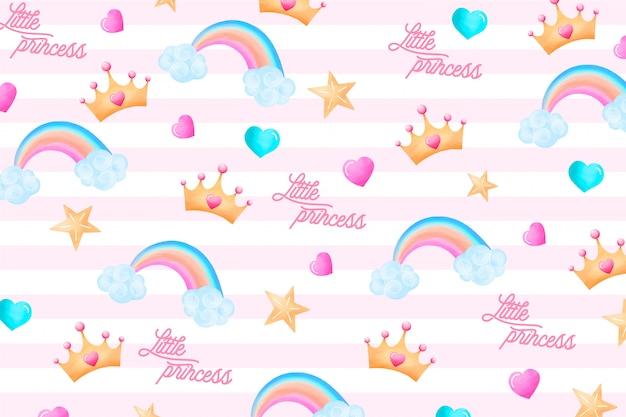 Padrão bonito com elementos encantadores para uma pequena princesa