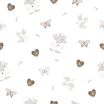 Padrão bonito com pássaros, borboletas, ervas selvagens