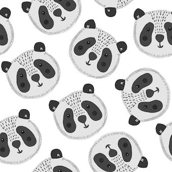 Padrão bonito de desenho animado com grandes cabeças de panda