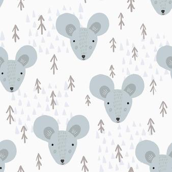 Padrão bonito de desenho animado com ratos e árvores