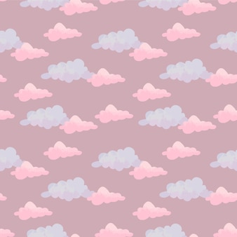 Padrão bonito em aquarela com nuvens