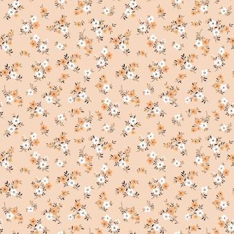 Padrão bonito em flores pequenas fundo claro begie padrão floral sem costura vintage impressão