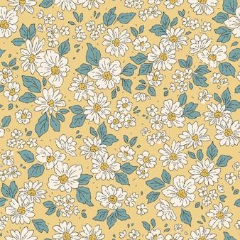 Padrão bonito em pequenas flores de margarida branca fundo amarelo claro padrão floral sem emenda