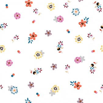 Padrão bonito sem costura na moda colorido em estilo de liberdade de flor em pequena escala