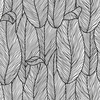 Padrão botânico abstrato sem costura em cores monocromáticas com flores de arte de linha
