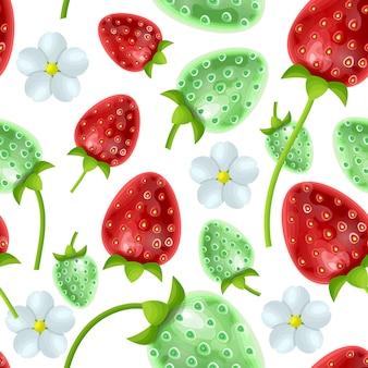 Padrão botânico contínuo e infinito com flores e frutos de morango em branco