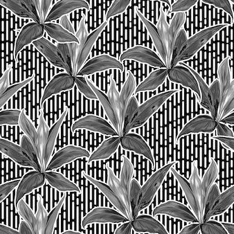 Padrão botânico elegante em preto e branco desenhado à mão