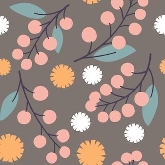 Padrão botânico mínimo em bege bege e rosa pastel.