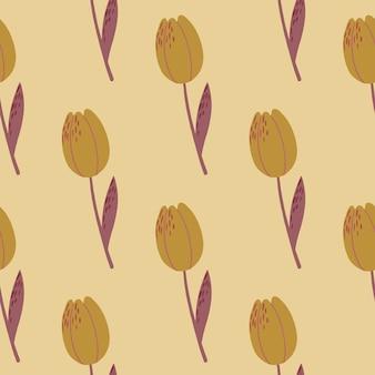 Padrão botânico pálido sem costura minimalista com silhuetas de flores de tulipa.