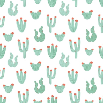 Padrão botânico sem costura com cactos verdes desenhados à mão em fundo branco
