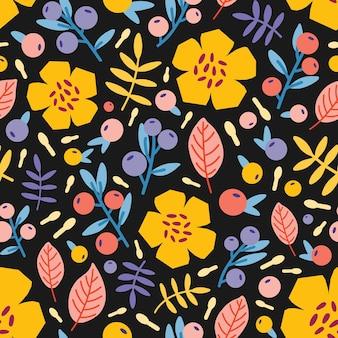 Padrão botânico sem costura com flores desabrochando de verão, frutos e folhas