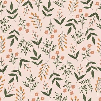 Padrão botânico sem costura com flores e folhas