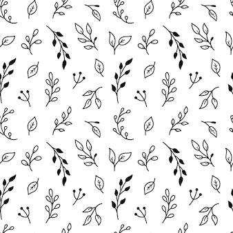 Padrão botânico sem costura com pequenos galhos e folhas fundo floral abstrato