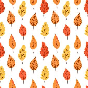 Padrão botânico sem costura com várias folhas de outono laranjas e amarelas