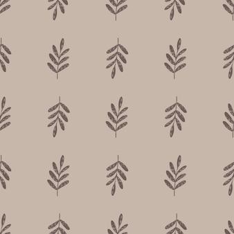 Padrão botânico sem costura minimalista com silhuetas de ramos simples. fundo pastel.