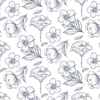 Padrão botânico vintage desenhado à mão