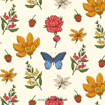 Padrão botânico vintage