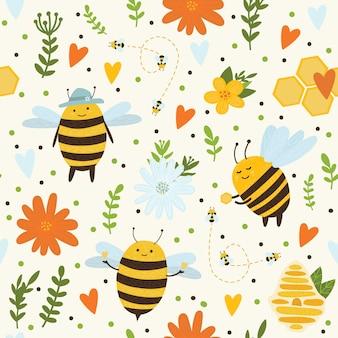 Padrão brilhante em um fundo amarelo com abelhas