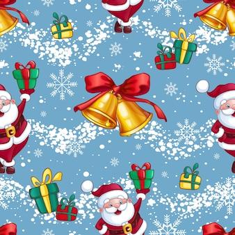 Padrão brilhante festivo de natal ou ano novo. papai noel com presentes, sinos de natal dourados e flocos de neve.