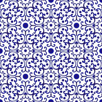 Padrão chinês azul e branco