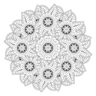 Padrão circular em forma de mandala com flor na página do livro para colorir de estilo oriental étnico