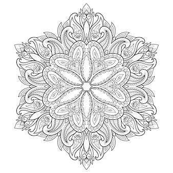 Padrão circular em forma de mandala com flor. ornamento decorativo em estilo étnico oriental. esboço doodle mão desenhar.