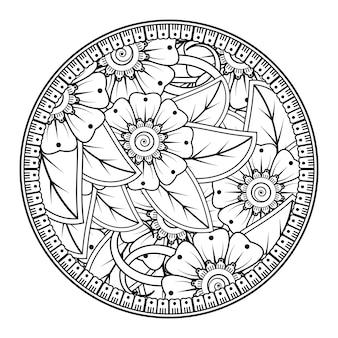 Padrão circular em forma de mandala com flor para decoração de tatuagem de henna mehndi