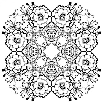 Padrão circular em forma de mandala com flor para henna, mehndi, tatuagem, decoração. ornamento decorativo em estilo étnico oriental. esboço doodle mão desenhar ilustração vetorial.