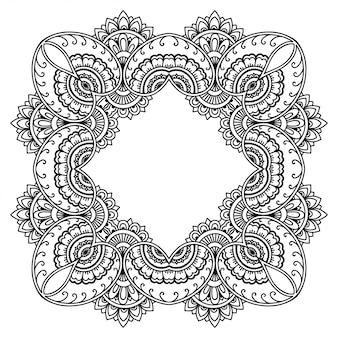 Padrão circular em forma de mandala com flor para henna, mehndi, tatuagem, decoração. ornamento decorativo em estilo étnico oriental. esboço doodle mão desenhar.