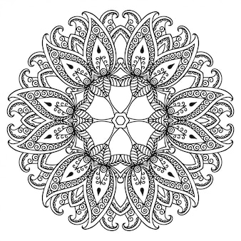 Padrão circular em forma de mandala com flor para henna, mehndi, tatuagem, decoração.