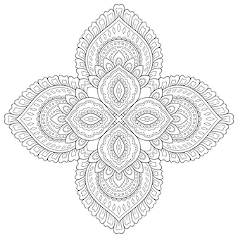 Padrão circular em forma de mandala com flor para tatuagem de henna, mehndi, decoração. ornamento decorativo em estilo oriental étnico. esboço doodle mão desenhar ilustração vetorial.