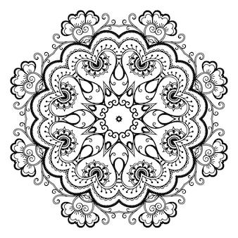 Padrão circular em forma de mandala com flor para tatuagem de henna, mehndi, decoração.
