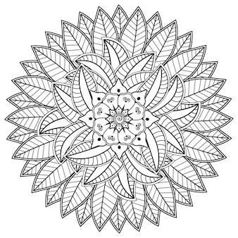 Padrão circular em forma de mandala com flor