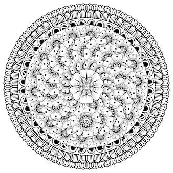 Padrão circular em forma de mandala com flores para henna, mehndi, tatuagem, decoração. decoração de flores mehndi em estilo étnico oriental, indiano.