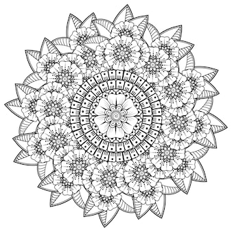 Padrão circular em forma de mandala com flores para henna, mehndi, tatuagem, decoração. ornamento decorativo em estilo oriental étnico. página do livro para colorir.