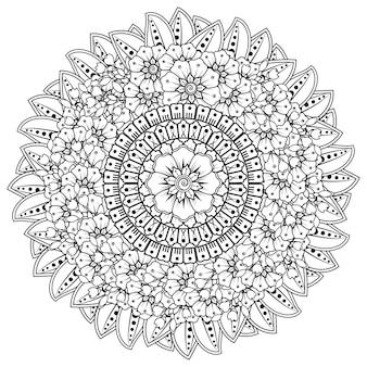 Padrão circular em forma de mandala com flores para henna, mehndi, tatuagem, decoração. ornamento decorativo em estilo oriental étnico.