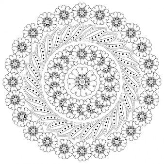 Padrão circular em forma de mandala com flores para henna, mehndi, tatuagem, decoração.