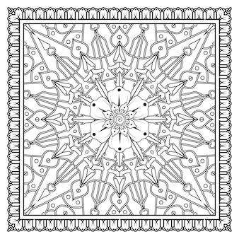 Padrão circular em forma de mandala em uma moldura quadrada