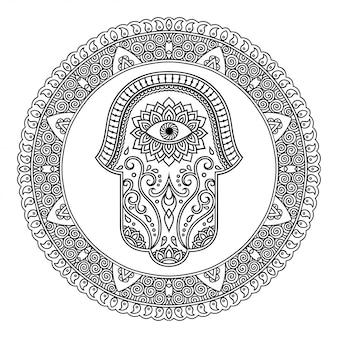 Padrão circular em forma de mandala para tatuagem de henna, mehndi, decoração. ornamento decorativo em estilo oriental com flor e hamsa mão símbolo desenhado. página do livro de colorir.