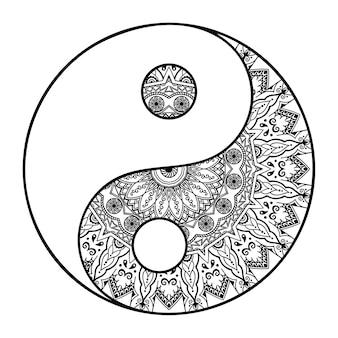 Padrão circular em forma de mandala para tatuagem de henna, mehndi, decoração. ornamento decorativo em estilo oriental étnico com símbolo desenhado da mão yin-yang. delinear a ilustração em vetor doodle.