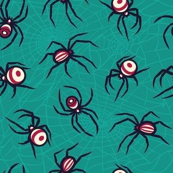 Padrão colorido com aranha para festa de halloween