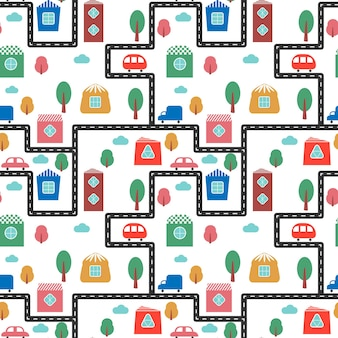 Padrão colorido com belas casas, árvores, carros e estrada, ilustração vetorial.