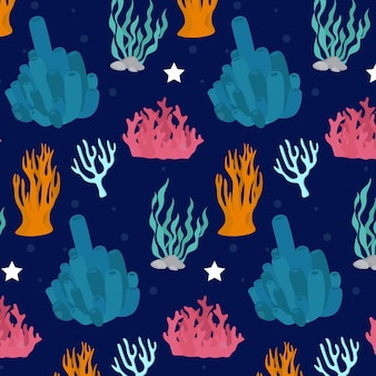 Padrão colorido com corais