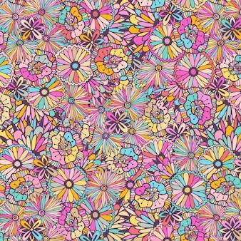 Padrão colorido com flores de doodle. ilustração única do vetor