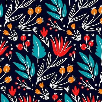Padrão colorido de flores e folhas