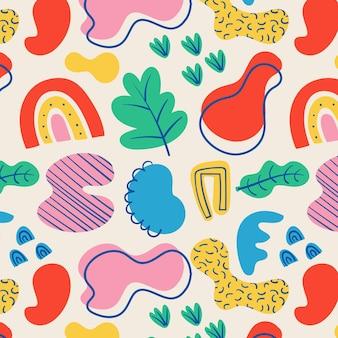 Padrão colorido de formas abstratas desenhadas à mão