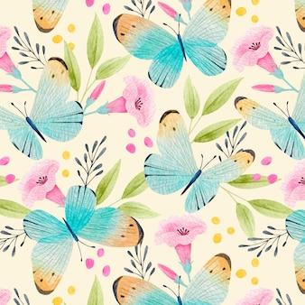 Padrão colorido de insetos e flores