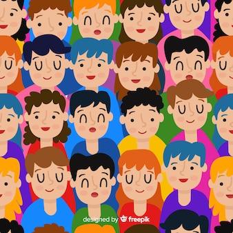 Padrão colorido de jovens