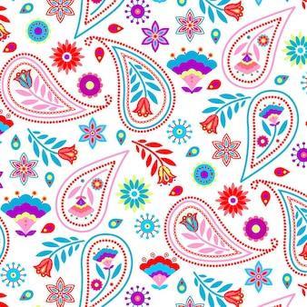 Padrão colorido de paisley com folhas